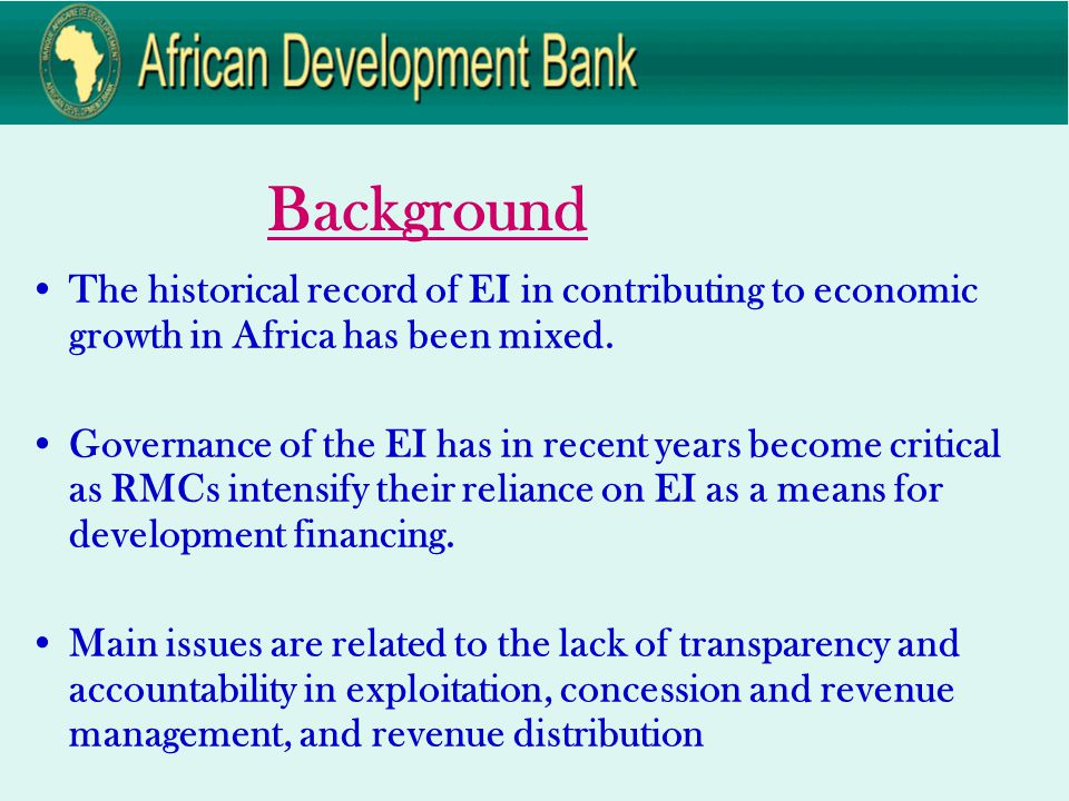 Background The historical record of EI in contributing to economic growth in Africa has been mixed.