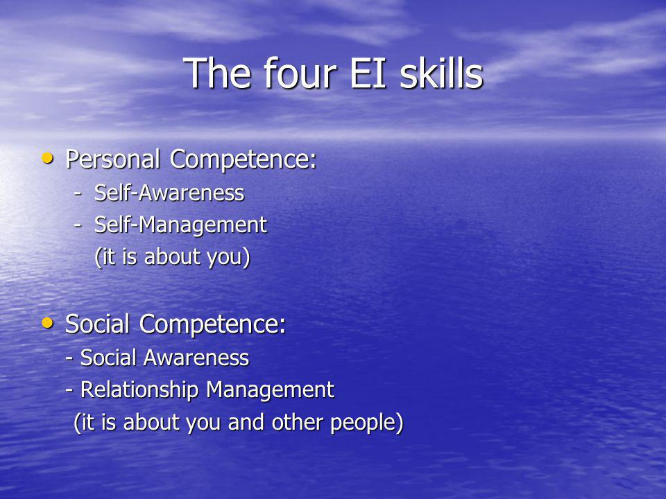 The four EI skills Personal Competence: Personal Competence: -Self-Awareness -Self-Management (it is about you) (it is about you) Social Competence: Social Competence: - Social Awareness - Relationship Management (it is about you and other people)