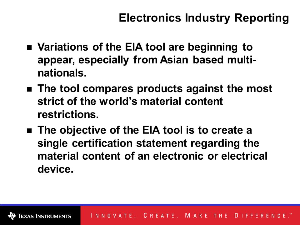 Variations of the EIA tool are beginning to appear, especially from Asian based multi- nationals.