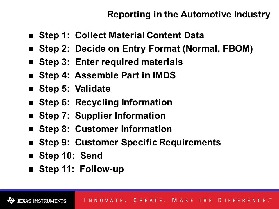 Step 1: Collect Material Content Data Step 2: Decide on Entry Format (Normal, FBOM) Step 3: Enter required materials Step 4: Assemble Part in IMDS Step 5: Validate Step 6: Recycling Information Step 7: Supplier Information Step 8: Customer Information Step 9: Customer Specific Requirements Step 10: Send Step 11: Follow-up Reporting in the Automotive Industry