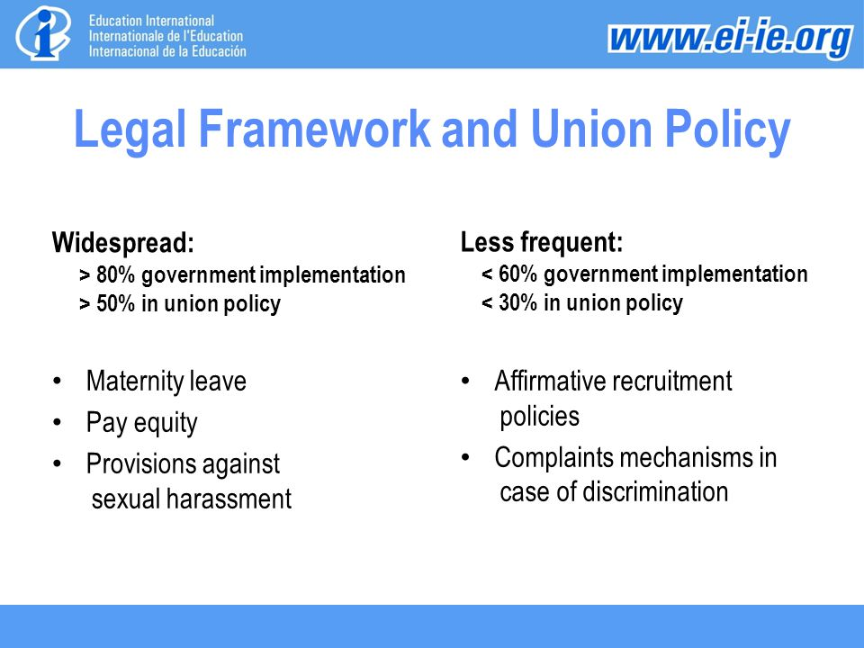 Legal Framework and Union Policy Widespread: > 80% government implementation > 50% in union policy Maternity leave Pay equity Provisions against sexual harassment Less frequent: < 60% government implementation < 30% in union policy Affirmative recruitment policies Complaints mechanisms in case of discrimination