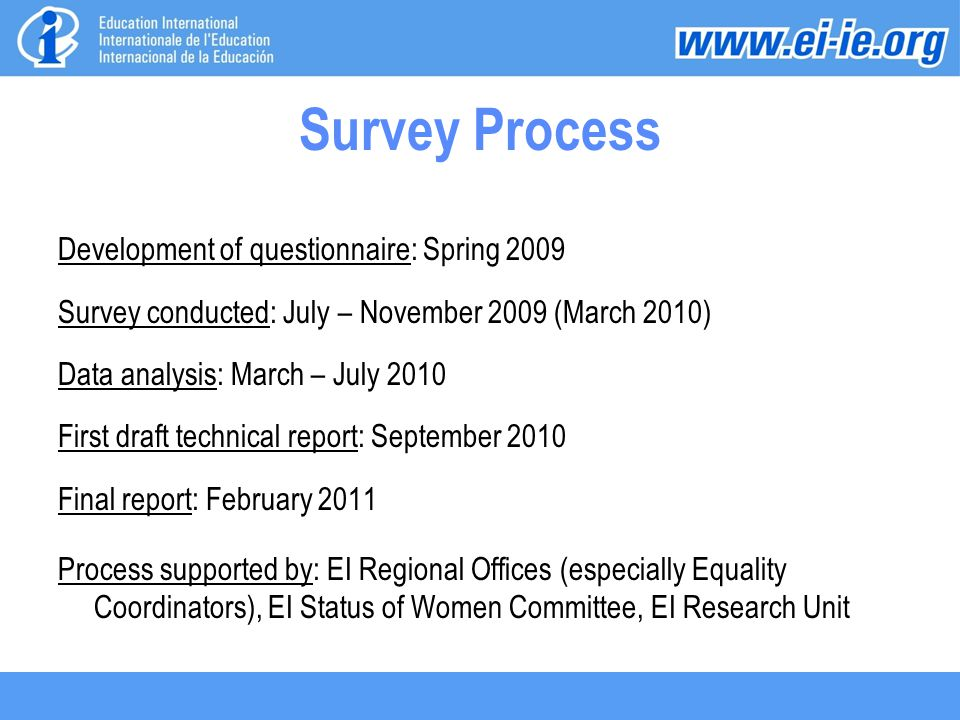 Survey Process Development of questionnaire: Spring 2009 Survey conducted: July – November 2009 (March 2010) Data analysis: March – July 2010 First draft technical report: September 2010 Final report: February 2011 Process supported by: EI Regional Offices (especially Equality Coordinators), EI Status of Women Committee, EI Research Unit