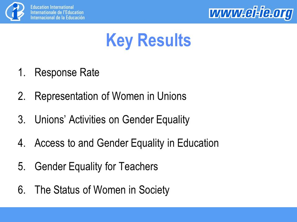 Key Results 1.Response Rate 2.Representation of Women in Unions 3.Unions' Activities on Gender Equality 4.Access to and Gender Equality in Education 5.Gender Equality for Teachers 6.The Status of Women in Society
