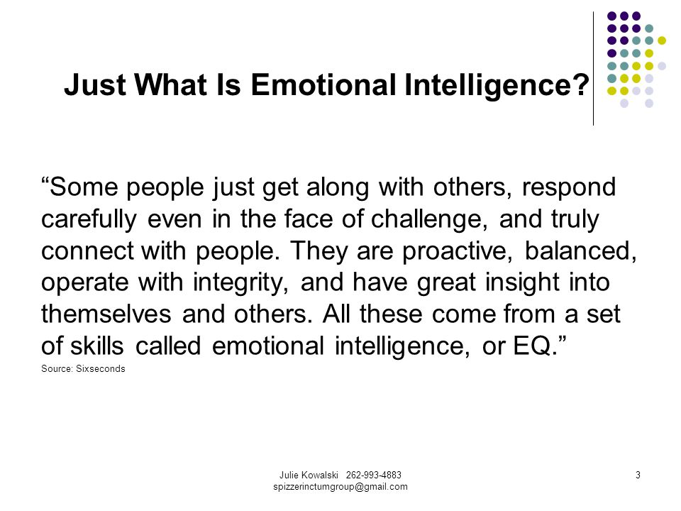 Julie Kowalski 262-993-4883 spizzerinctumgroup@gmail.com 3 Just What Is Emotional Intelligence.