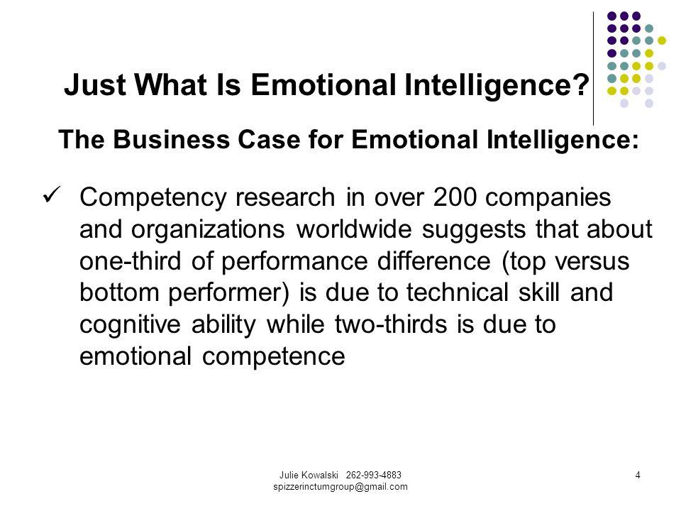 Julie Kowalski 262-993-4883 spizzerinctumgroup@gmail.com 5 Just What Is Emotional Intelligence.