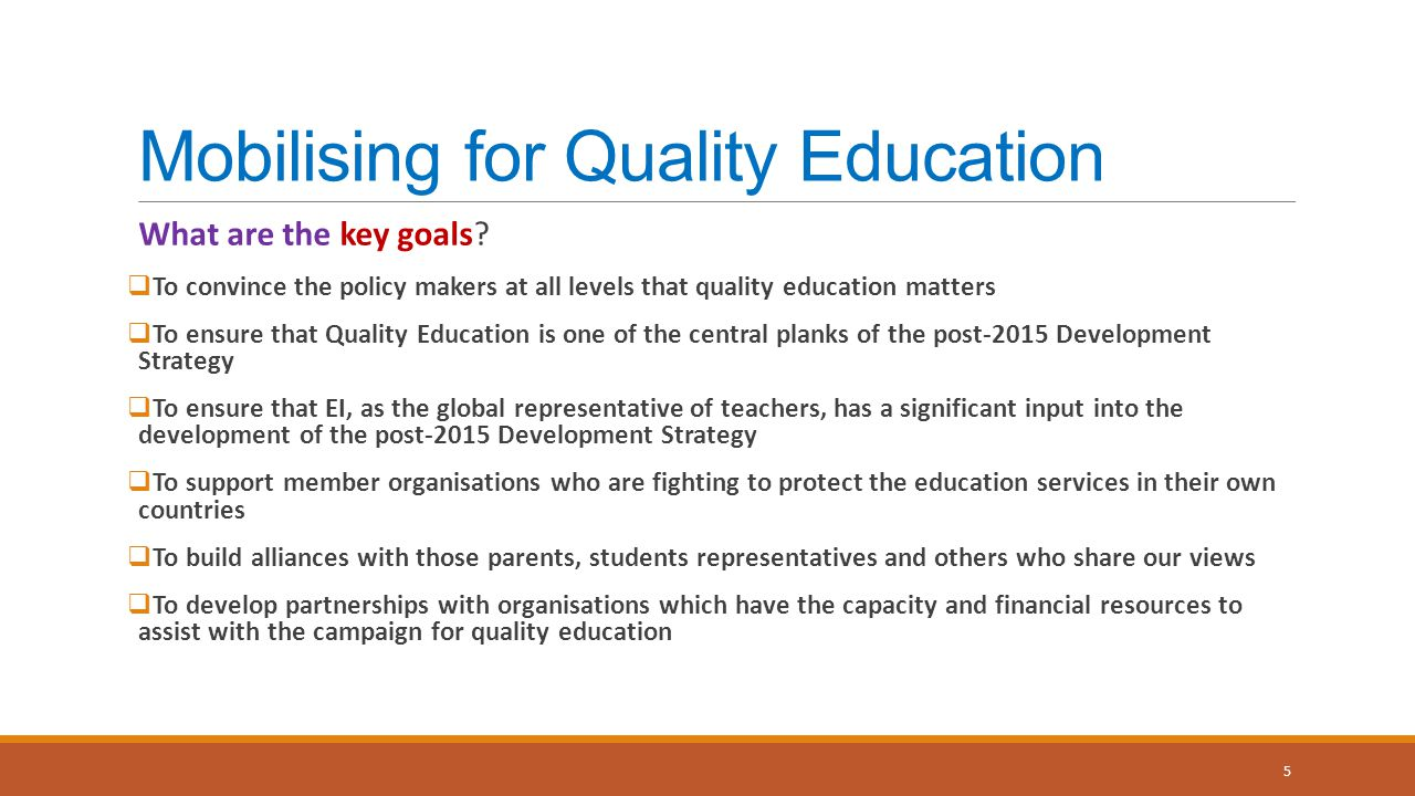 Mobilising for Quality Education What are the key goals.