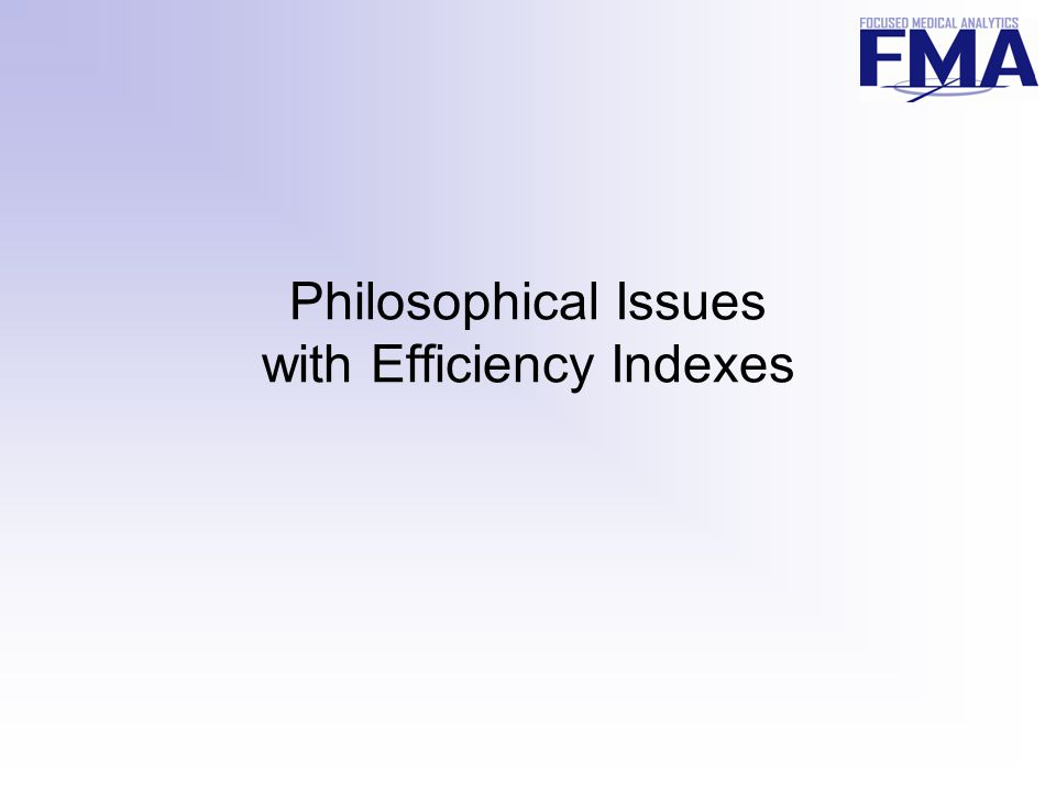 Philosophical Issues with Efficiency Indexes