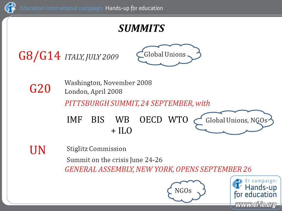 SUMMITS G20 Washington, November 2008 London, April 2008 PITTSBURGH SUMMIT, 24 SEPTEMBER, with IMFBISWBOECDWTO + ILO Global Unions, NGOs UN GENERAL ASSEMBLY, NEW YORK, OPENS SEPTEMBER 26 NGOs G8/G14 ITALY, JULY 2009 Global Unions Stiglitz Commission Summit on the crisis June 24-26