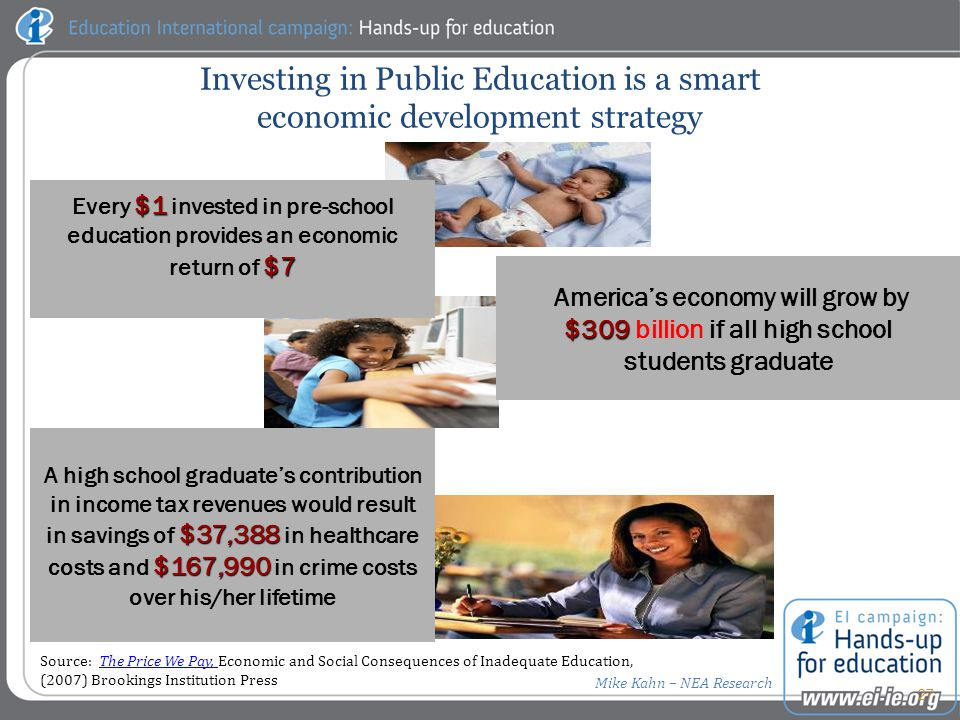 $1 $7 Every $1 invested in pre-school education provides an economic return of $7 Investing in Public Education is a smart economic development strategy America's economy will grow by $309 $309 billion if all high school students graduate $37,388 $167,990 A high school graduate's contribution in income tax revenues would result in savings of $37,388 in healthcare costs and $167,990 in crime costs over his/her lifetime 27 Source: The Price We Pay, Economic and Social Consequences of Inadequate Education,The Price We Pay, (2007) Brookings Institution Press Mike Kahn – NEA Research