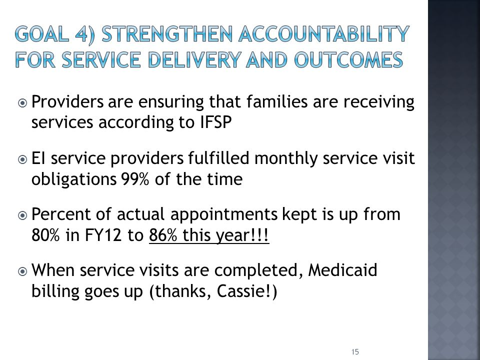  Providers are ensuring that families are receiving services according to IFSP  EI service providers fulfilled monthly service visit obligations 99% of the time  Percent of actual appointments kept is up from 80% in FY12 to 86% this year!!.