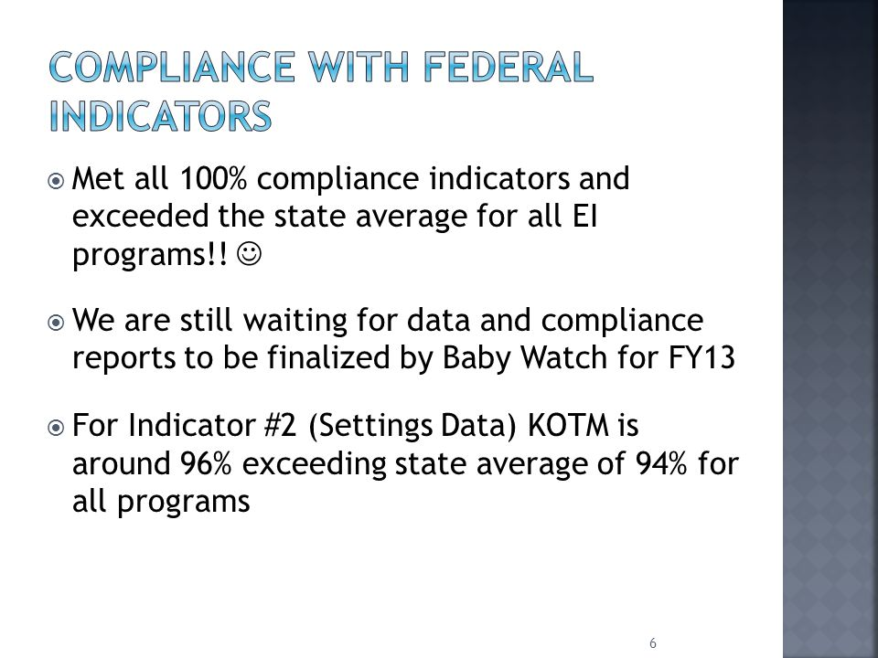  Met all 100% compliance indicators and exceeded the state average for all EI programs!.