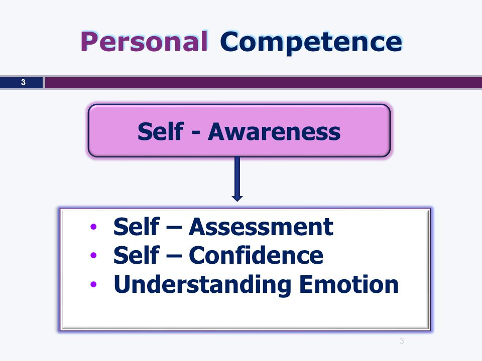 Personal Competence Self - Awareness Self – Assessment Self – Confidence Understanding Emotion Self – Assessment Self – Confidence Understanding Emotion 3 3