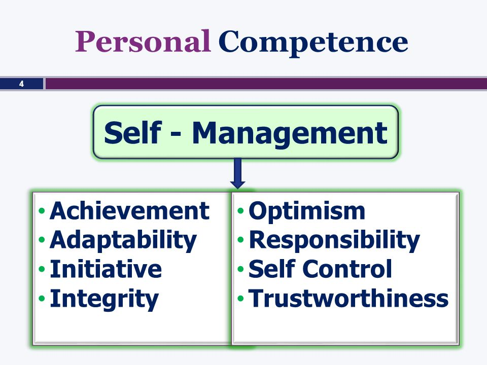 Personal Competence Self - Management Achievement Adaptability Initiative Integrity Achievement Adaptability Initiative Integrity Optimism Responsibility Self Control Trustworthiness Optimism Responsibility Self Control Trustworthiness 4