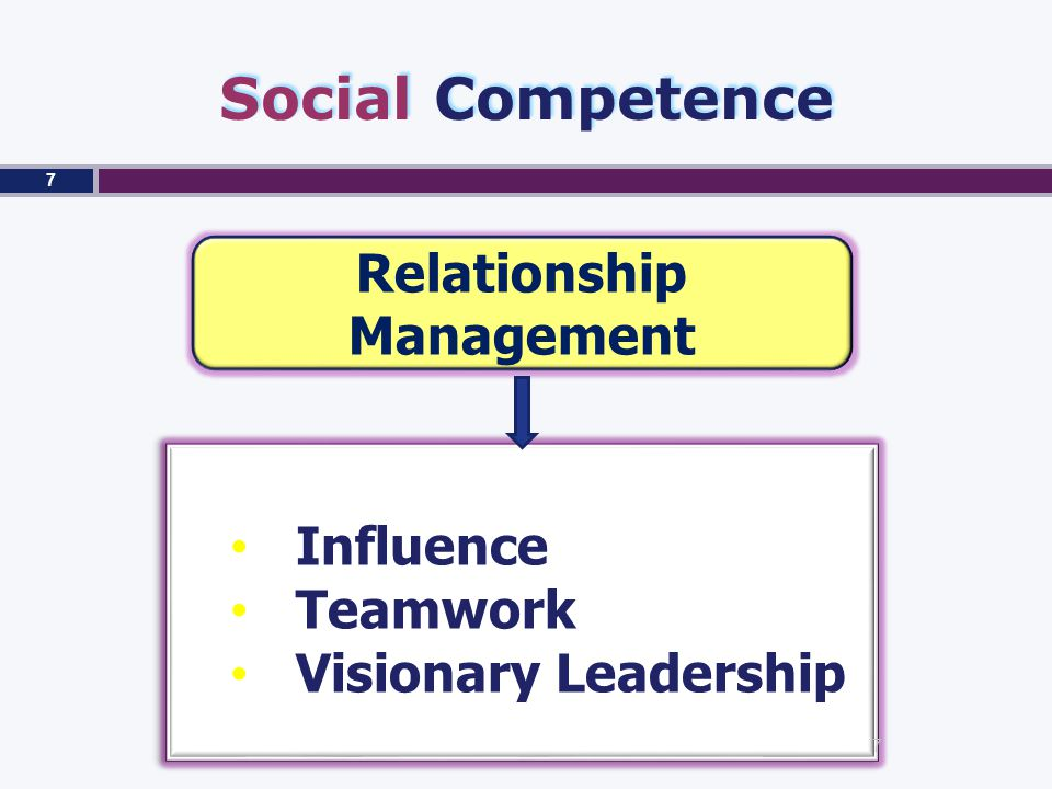 Social Competence Relationship Management Influence Teamwork Visionary Leadership Influence Teamwork Visionary Leadership 7 7