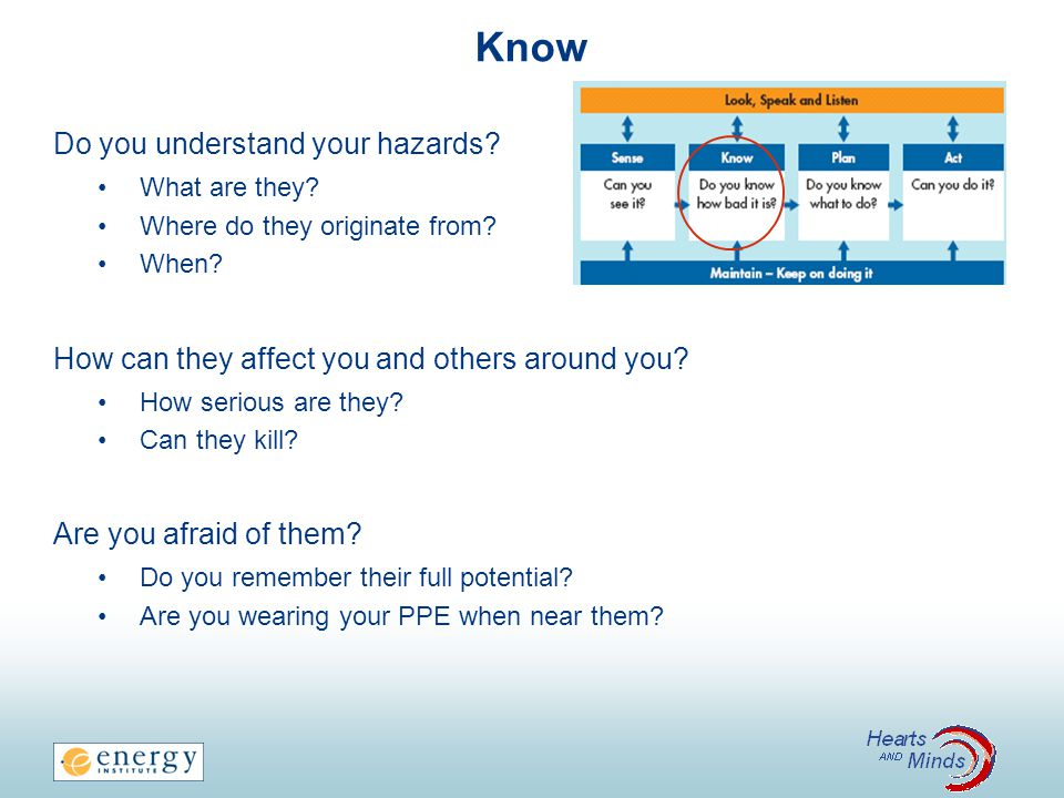 Know Do you understand your hazards. What are they.