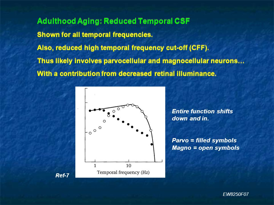 Adulthood Aging: Reduced Temporal CSF Shown for all temporal frequencies.