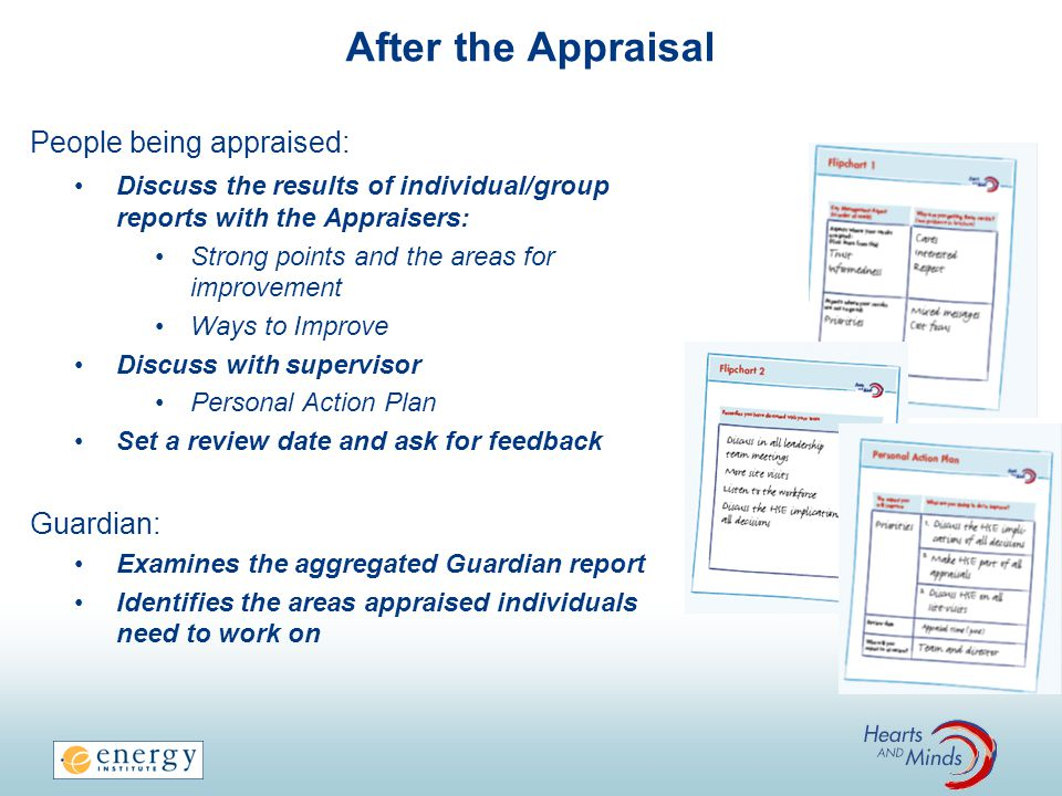 After the Appraisal People being appraised: Discuss the results of individual/group reports with the Appraisers: Strong points and the areas for improvement Ways to Improve Discuss with supervisor Personal Action Plan Set a review date and ask for feedback Guardian: Examines the aggregated Guardian report Identifies the areas appraised individuals need to work on