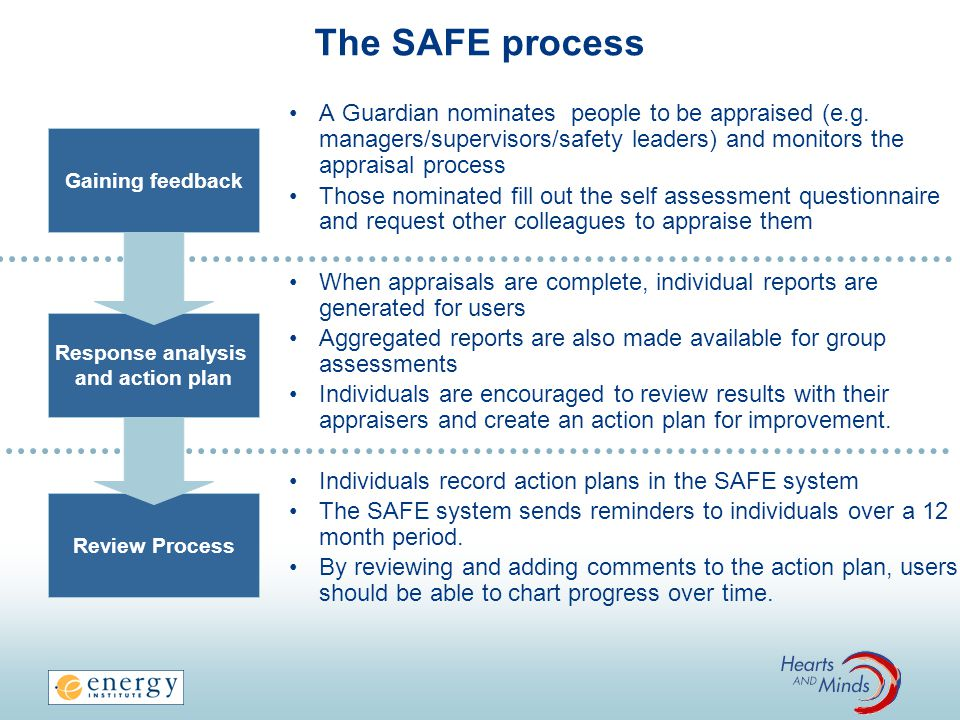 The SAFE process A Guardian nominates people to be appraised (e.g.