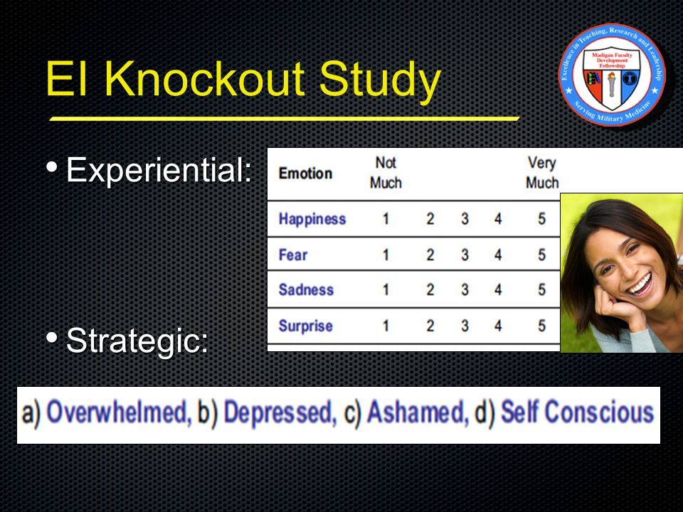 EI Knockout Study Experiential: Experiential: Strategic: Strategic: