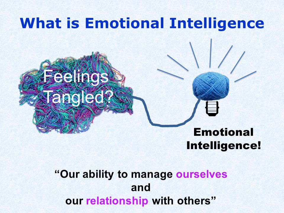 What is Emotional Intelligence Our ability to manage ourselves and our relationship with others Feelings Tangled.