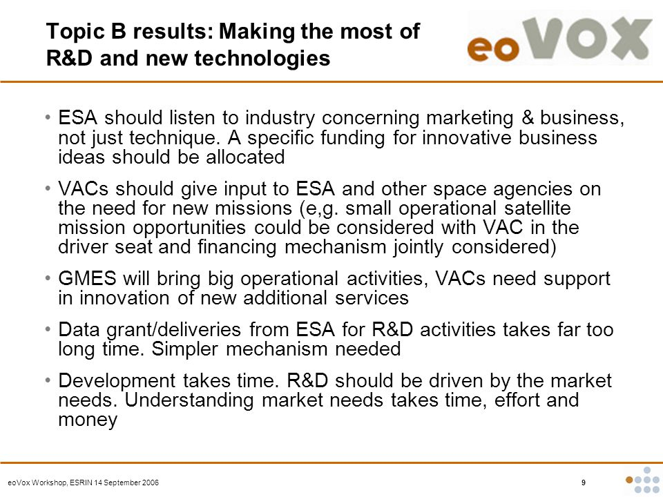 eoVox Workshop, ESRIN 14 September 2006 9 Topic B results: Making the most of R&D and new technologies ESA should listen to industry concerning marketing & business, not just technique.