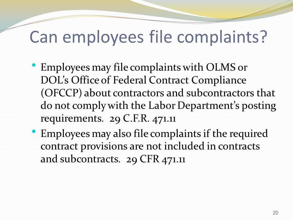 20 Can employees file complaints.