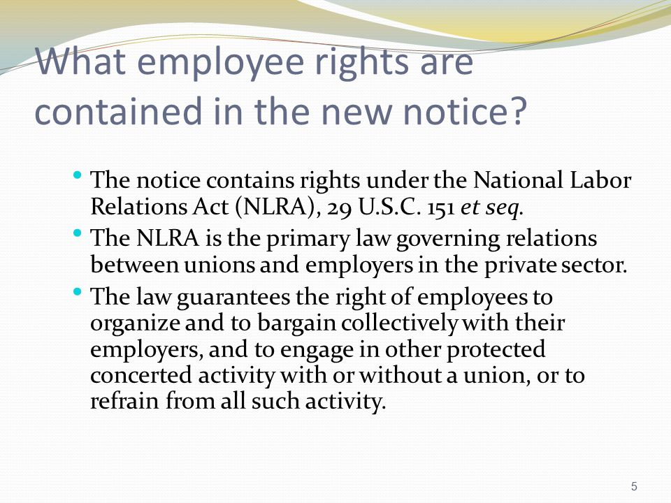 5 What employee rights are contained in the new notice.