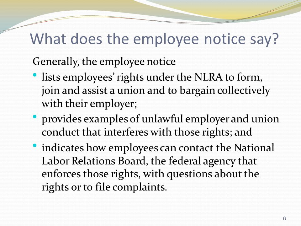 6 What does the employee notice say.