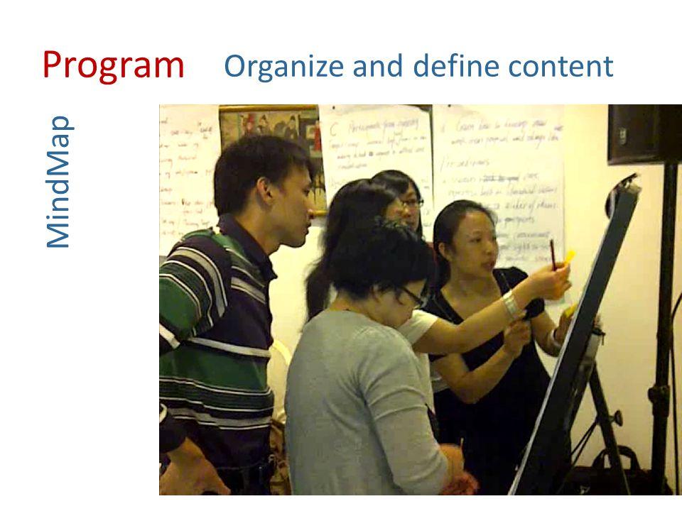 Organize and define content Teaching methods Training tools Progress Evaluation Define Provide Design Evaluate Program