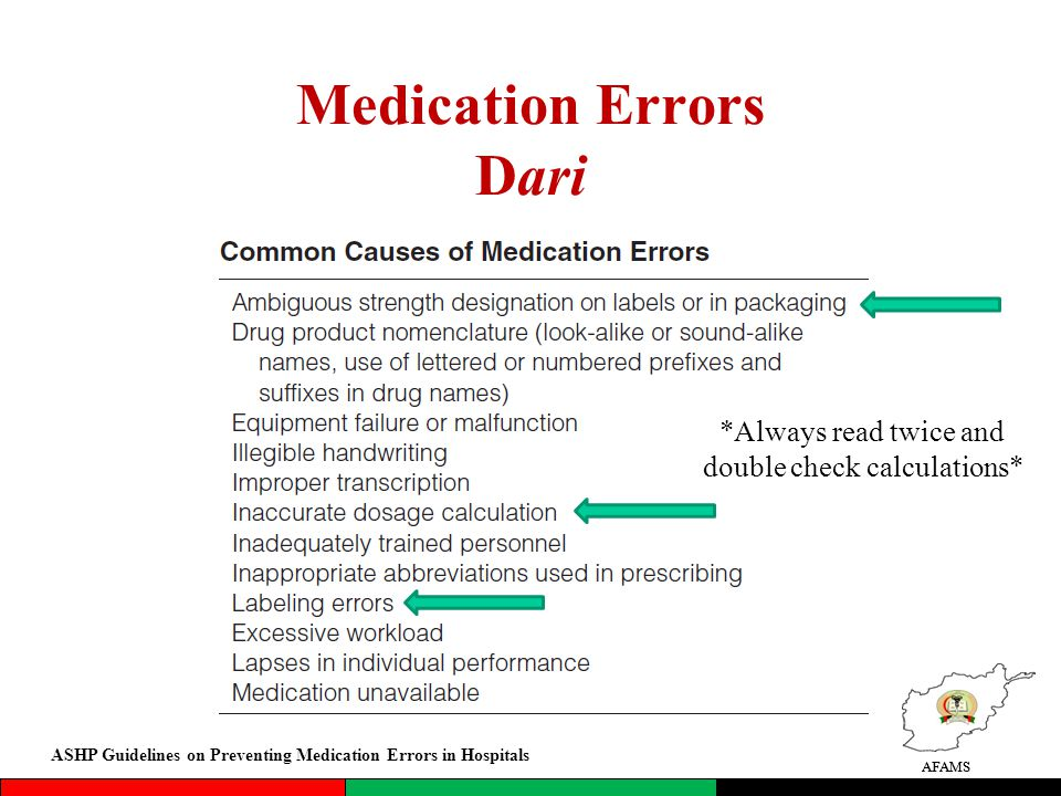 AFAMS Medication Errors Dari AFAMS Insert Dari *Always read twice and double check calculations* ASHP Guidelines on Preventing Medication Errors in Hospitals