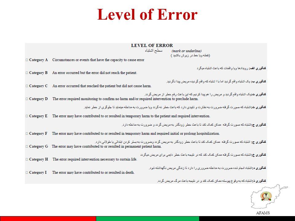 AFAMS Level of Error