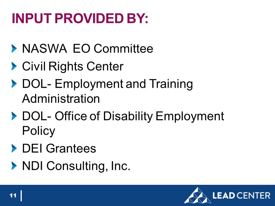 INPUT PROVIDED BY: NASWA EO Committee Civil Rights Center DOL- Employment and Training Administration DOL- Office of Disability Employment Policy DEI Grantees NDI Consulting, Inc.