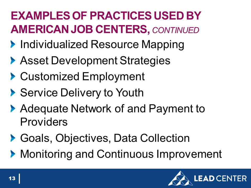 EXAMPLES OF PRACTICES USED BY AMERICAN JOB CENTERS, CONTINUED Individualized Resource Mapping Asset Development Strategies Customized Employment Service Delivery to Youth Adequate Network of and Payment to Providers Goals, Objectives, Data Collection Monitoring and Continuous Improvement 13