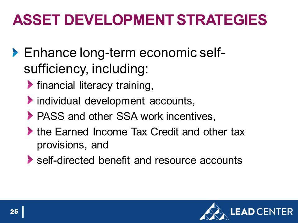 ASSET DEVELOPMENT STRATEGIES Enhance long-term economic self- sufficiency, including: financial literacy training, individual development accounts, PA