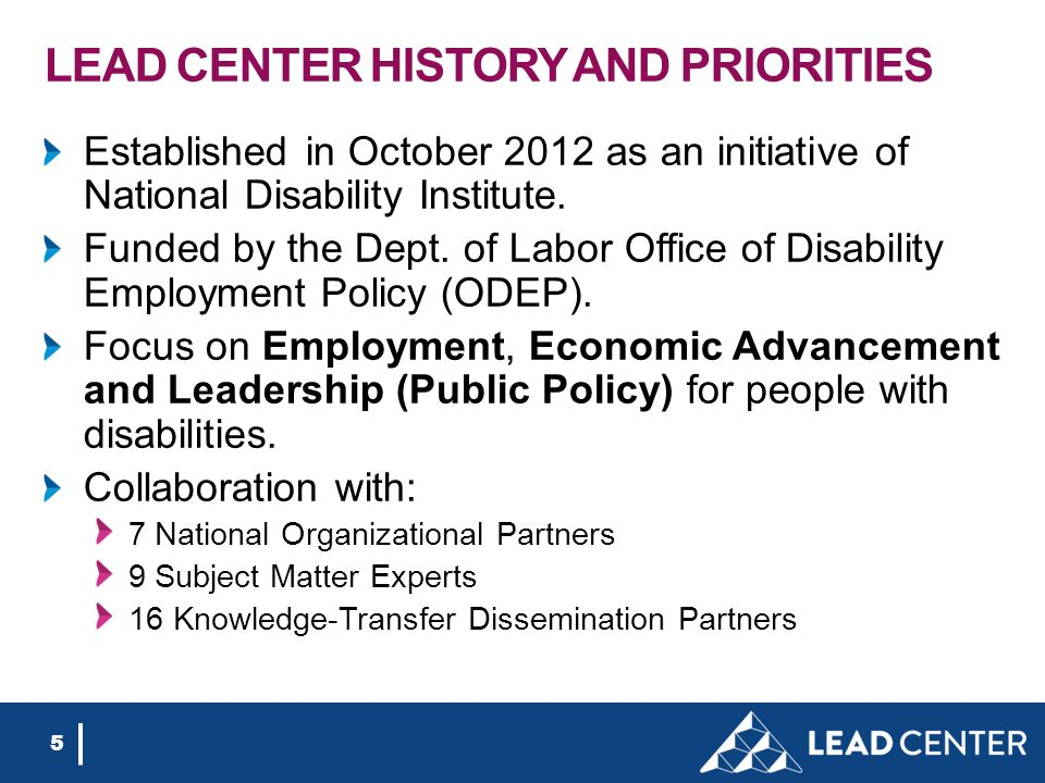 LEAD CENTER HISTORY AND PRIORITIES Established in October 2012 as an initiative of National Disability Institute. Funded by the Dept. of Labor Office
