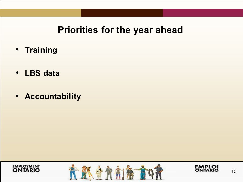 13 Priorities for the year ahead Training LBS data Accountability