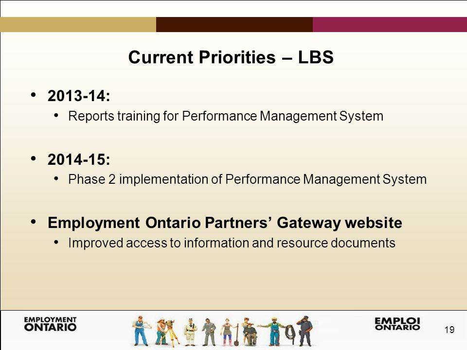 19 Current Priorities – LBS 2013-14: Reports training for Performance Management System 2014-15: Phase 2 implementation of Performance Management System Employment Ontario Partners' Gateway website Improved access to information and resource documents