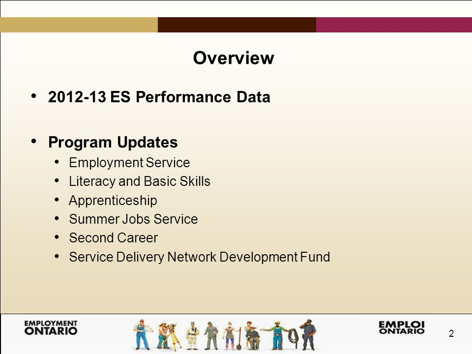 2 Overview 2012-13 ES Performance Data Program Updates Employment Service Literacy and Basic Skills Apprenticeship Summer Jobs Service Second Career Service Delivery Network Development Fund