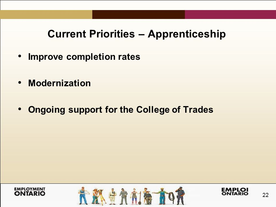 22 Current Priorities – Apprenticeship Improve completion rates Modernization Ongoing support for the College of Trades