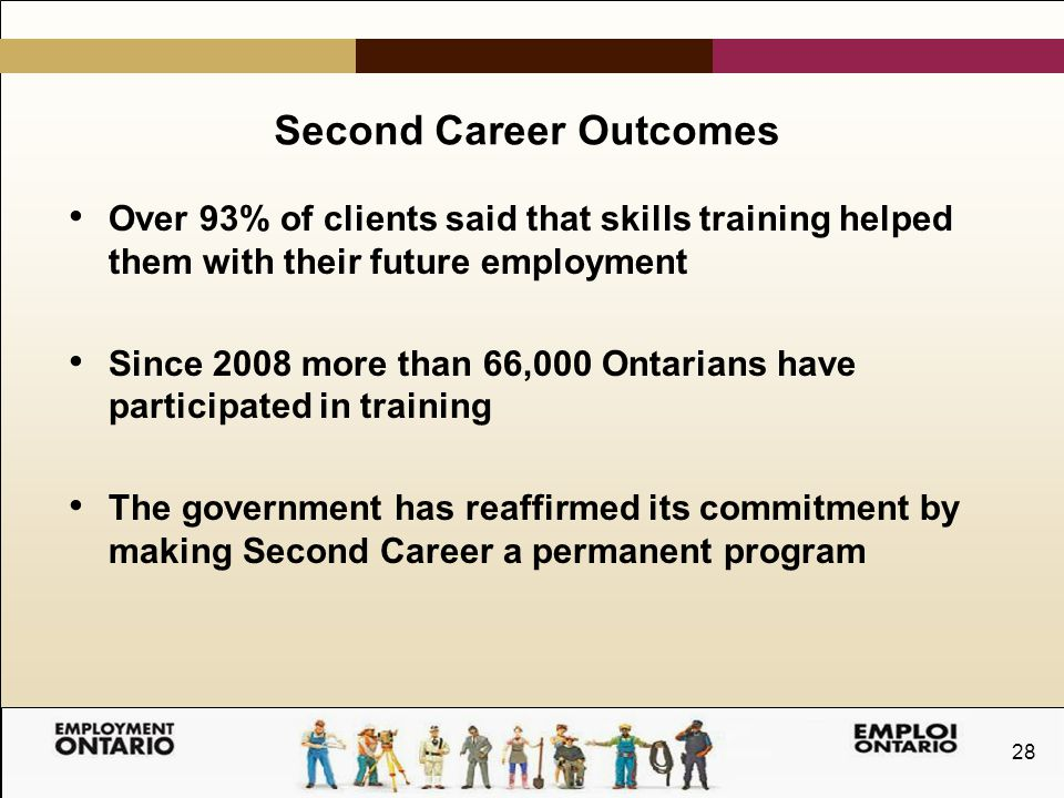 28 Second Career Outcomes Over 93% of clients said that skills training helped them with their future employment Since 2008 more than 66,000 Ontarians have participated in training The government has reaffirmed its commitment by making Second Career a permanent program