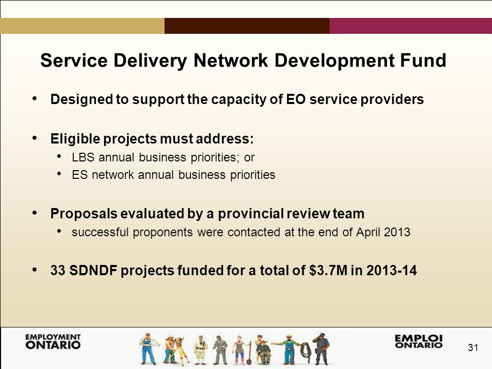31 Service Delivery Network Development Fund Designed to support the capacity of EO service providers Eligible projects must address: LBS annual business priorities; or ES network annual business priorities Proposals evaluated by a provincial review team successful proponents were contacted at the end of April 2013 33 SDNDF projects funded for a total of $3.7M in 2013-14