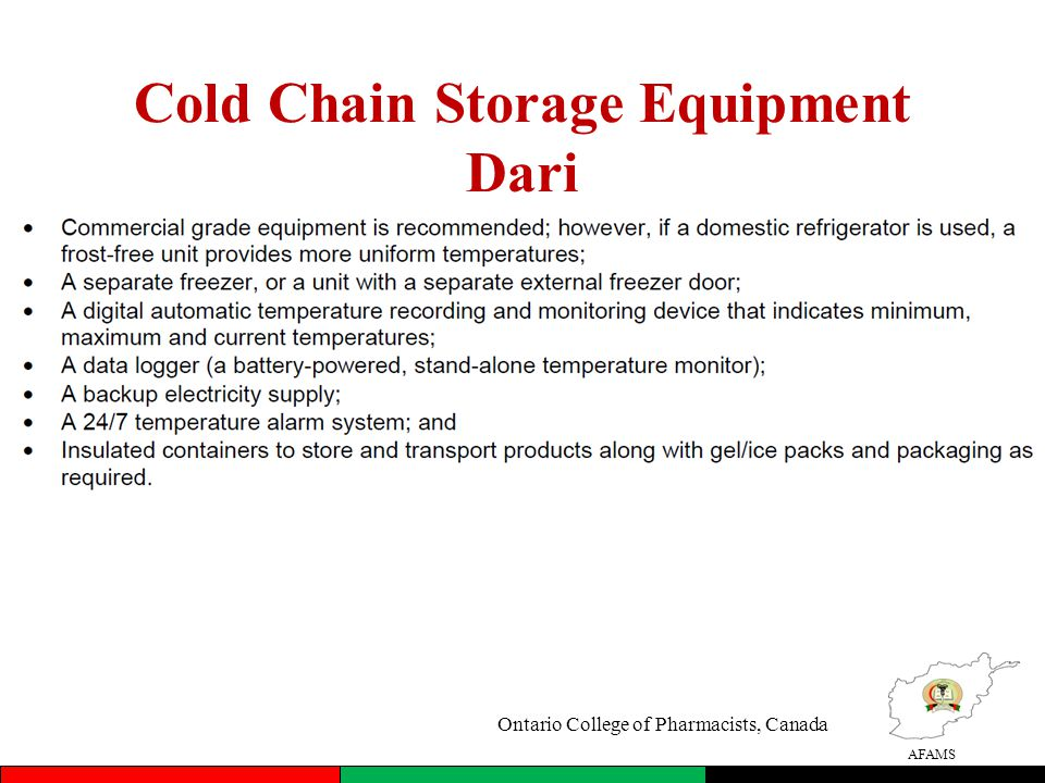 AFAMS Cold Chain Storage Equipment Dari Ontario College of Pharmacists, Canada