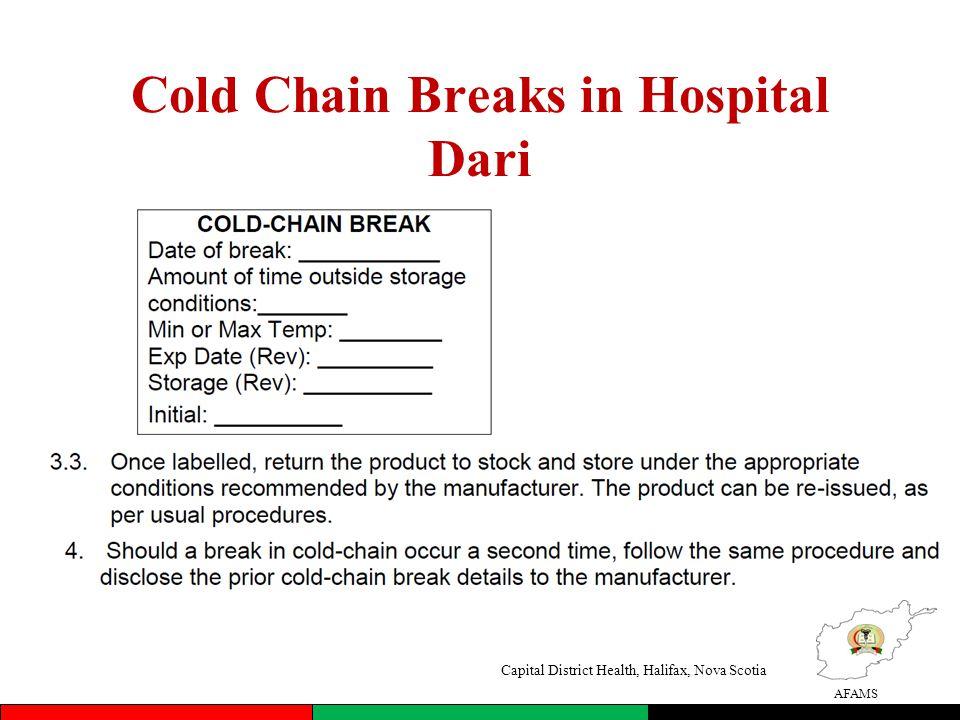 AFAMS Cold Chain Breaks in Hospital Dari Capital District Health, Halifax, Nova Scotia