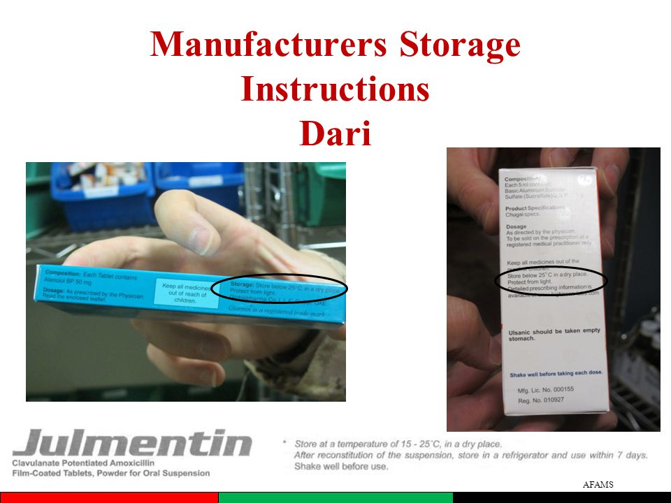 AFAMS Manufacturers Storage Instructions Dari