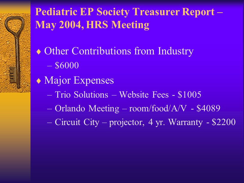 Pediatric EP Society Treasurer Report – May 2004, HRS Meeting  Other Contributions from Industry –$6000  Major Expenses –Trio Solutions – Website Fe