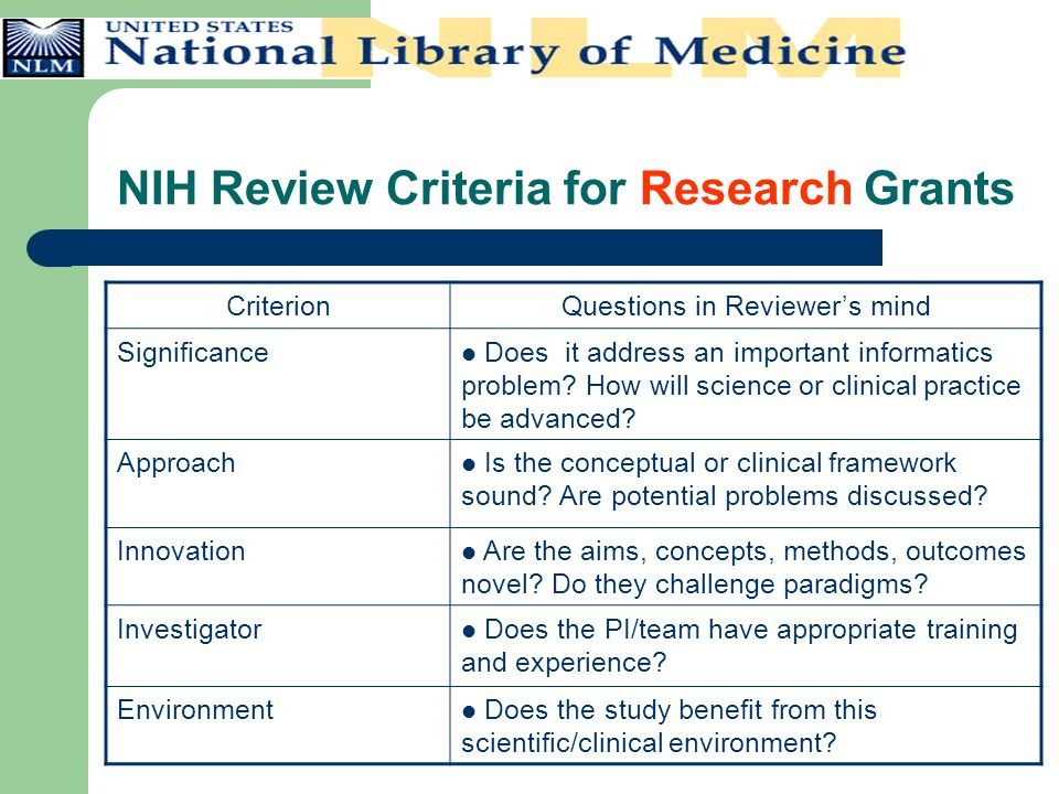 NIH Review Criteria for Research Grants CriterionQuestions in Reviewer's mind Significance Does it address an important informatics problem? How will