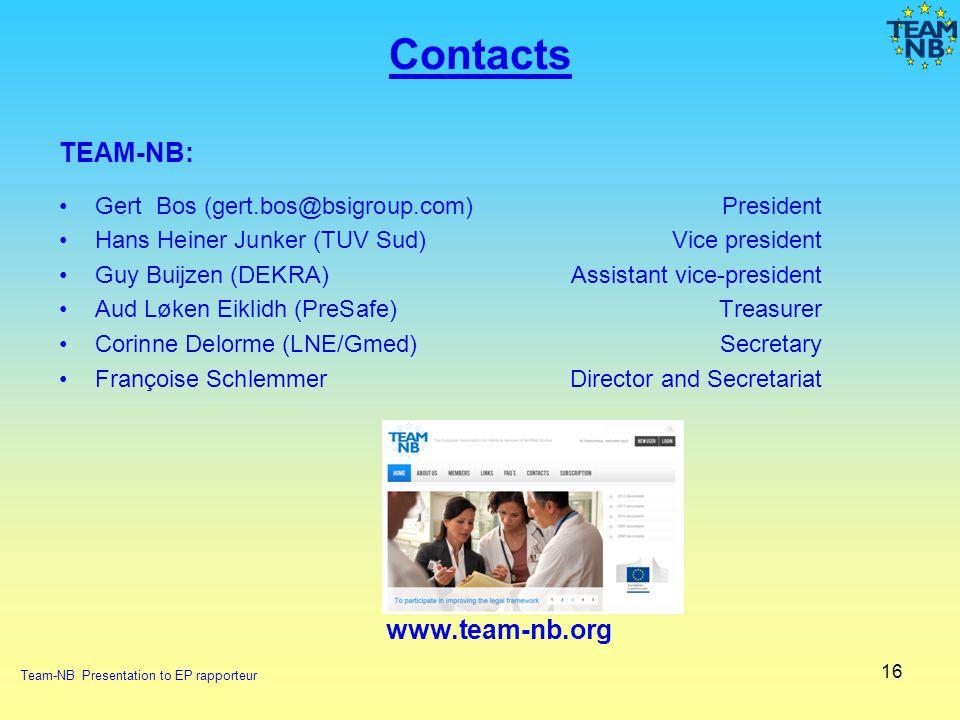 16 Contacts TEAM-NB: Gert Bos (gert.bos@bsigroup.com) President Hans Heiner Junker (TUV Sud)Vice president Guy Buijzen (DEKRA) Assistant vice-presiden