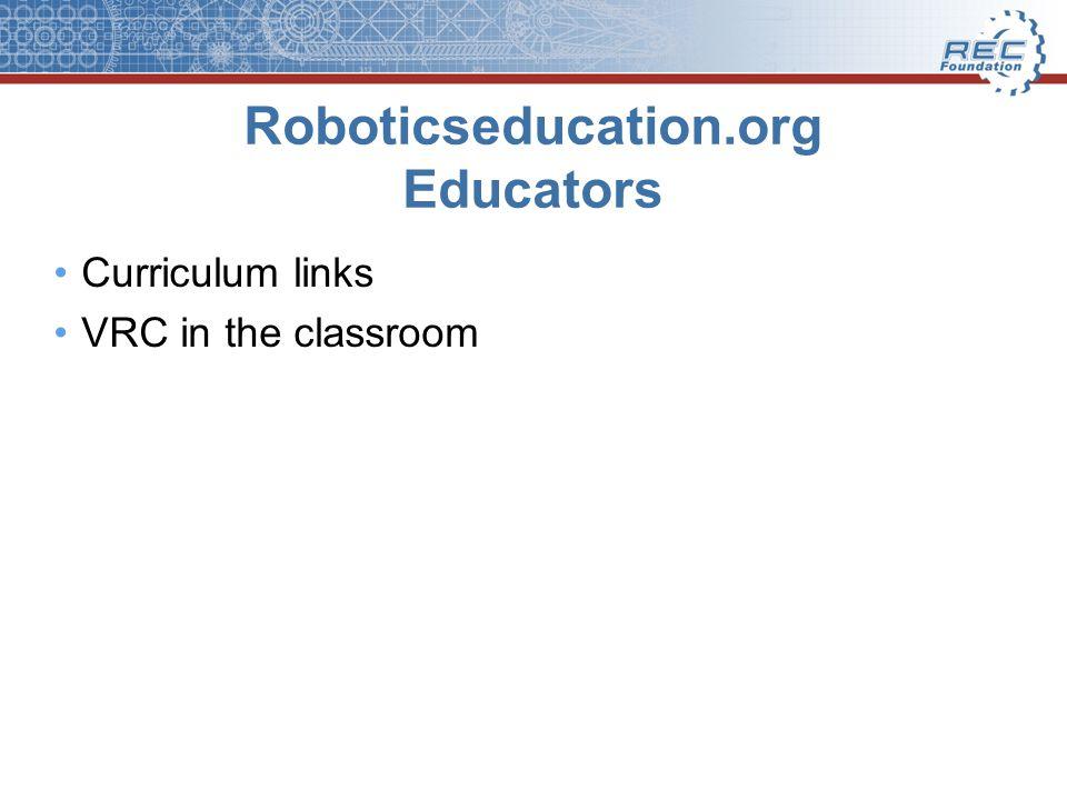 Roboticseducation.org Educators Curriculum links VRC in the classroom