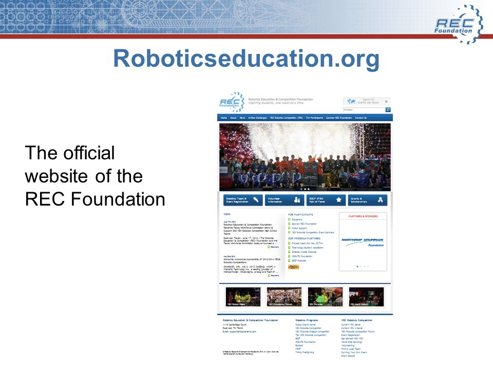 Roboticseducation.org The official website of the REC Foundation