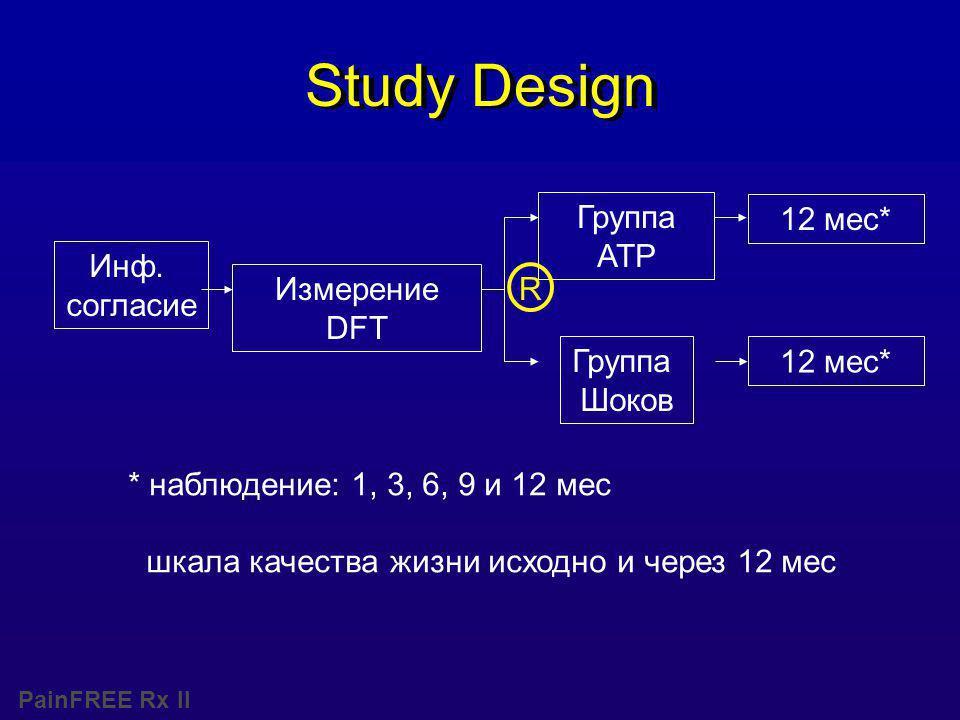 PainFREE Rx II Study Design * наблюдение: 1, 3, 6, 9 и 12 мес шкала качества жизни исходно и через 12 мес Инф.